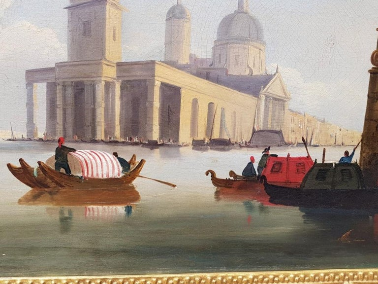 18th century Italian painting - View of Venice, Oil on canvas landscape Venetian For Sale 8