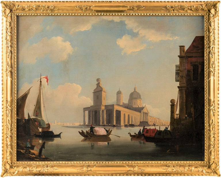 "Venetian master of the nineteenth century - ""View of the beginning of the Grand Canal with the Punta della Dogana in Venice"".  71.5 x 91.5 cm without frame, 84 x 104 cm with frame.  Oil on canvas, in carved and gilded wood frame."