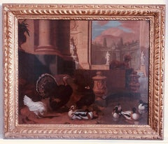 Dutch 18th century painting of birds and ornamental fowl with classical ruins