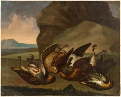 18th century Italian still life painting - Birds figures - oil on canvas Animal