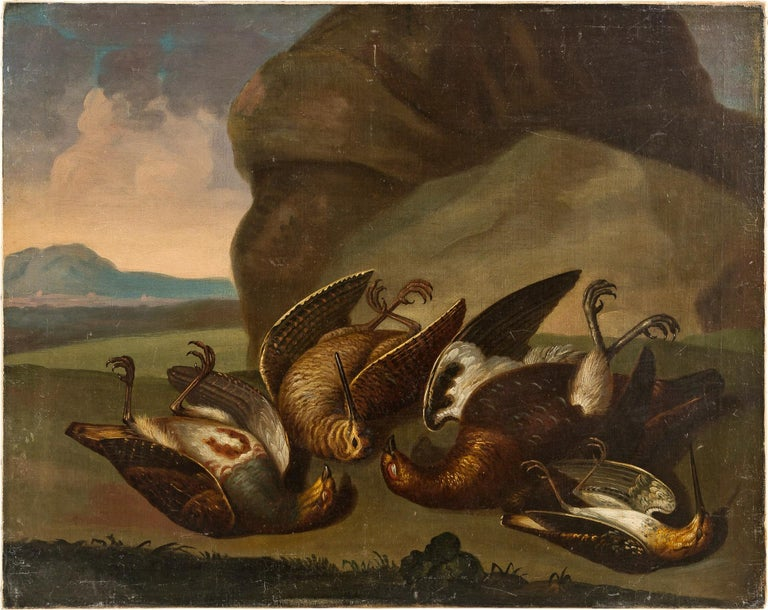 Unknown Still-Life Painting - 18th century Italian still life painting - Birds figures - oil on canvas Animal