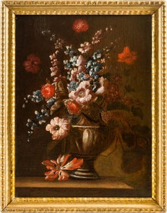 18th century Italian still life painting - Flowers vase - Oil on canvas baroque