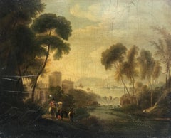18th Century Oil on Board Italian Landscape Bathed in Golden Light Painting