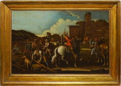18th Century Old Master Continental School Landscape with Figures on Horseback