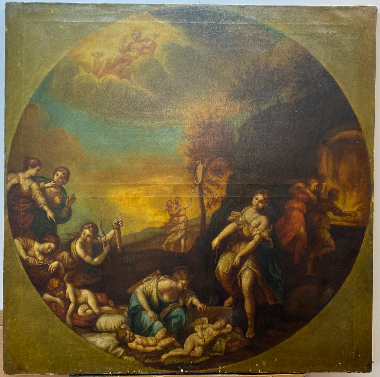 "18th Century Old Master ""Disarming Cupid"" Original Oil Painting"
