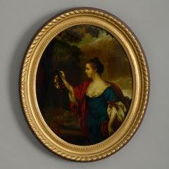 18th Century Reverse Glass Print of Elizabeth Gunning, Duchess of Hamilton