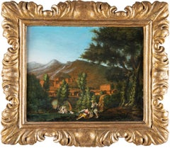 18th century Roman figure painting - Landscape - Oil on paper Rome view