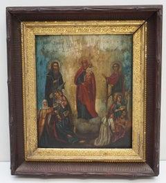 18th Century Russian Icon on Wood Panel