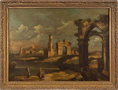 18th century Venetian figurative painting - Ruins landscape - Oil canvas Venice