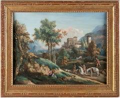 18th century Venetian figure painting - Landscape - Oil on panel Venice Italy