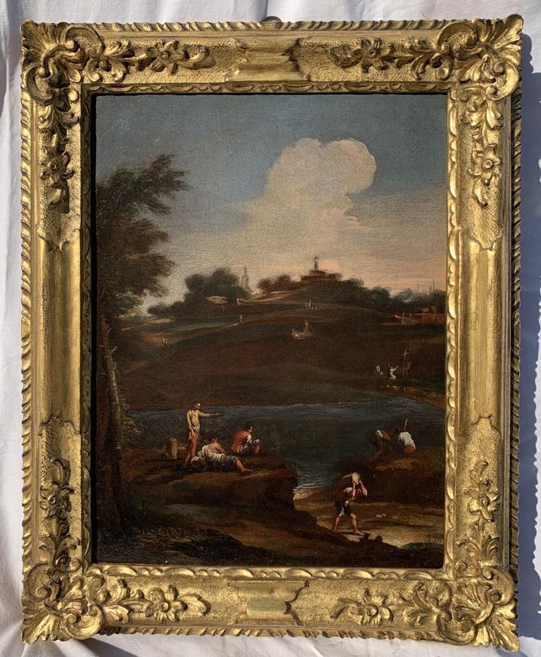 18th century Venetian landscape painting - River figure - Oil on canvas Rococò - Painting by Unknown