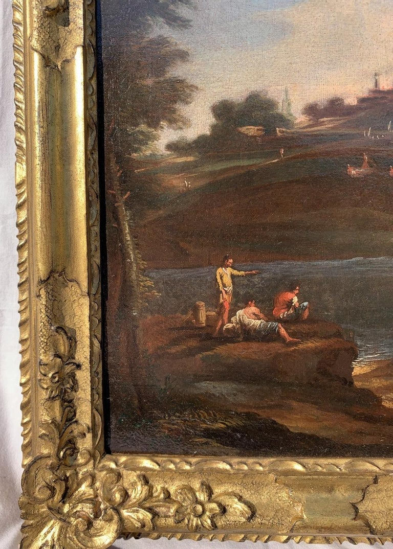 18th century Venetian landscape painting - River figure - Oil on canvas Rococò - Rococo Painting by Unknown