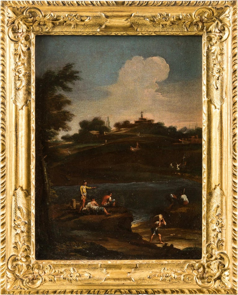 Unknown Figurative Painting - 18th century Venetian landscape painting - River figure - Oil on canvas Rococò