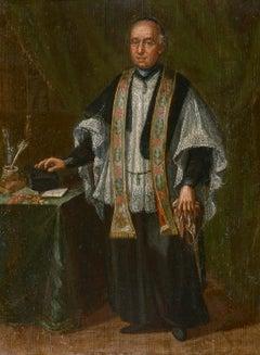18th Century Venetian School Portrait of a Bishop Oil on Panel Green Brown Black