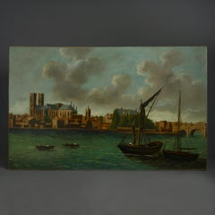 18th Century View of Westminster, London, from The Thames – Oil on Canvas