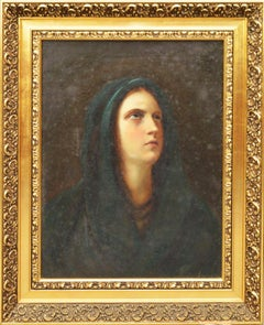 18th/ Early 19th c. Signed Portrait Oil Painting THE MADONNA