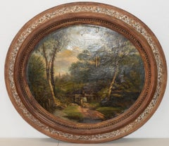 18th to 19th Century Country Landscape w/ Figures & a Distant Steeple