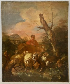 18th to 19th Century Old Master Painting W/ Shepherd & His Flock
