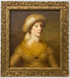 18th to 19th Century Woman in Yellow Original Oil Portrait c.1800