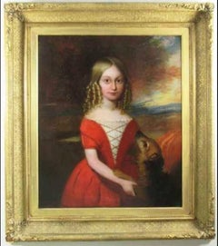18thc Oil Portrait Of Young Girl & Her Pet Dog English School Painting