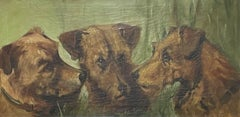 1900's ENGLISH DOG PAINTING - THREE TERRIERS HEAD PORTRAITS - ALERT CHARACTERS