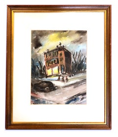 1940 American Modernist Nocturnal Framed Painting Haunted House