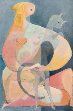 1940's LARGE Monogrammed Cubist Modern Woman with Cat