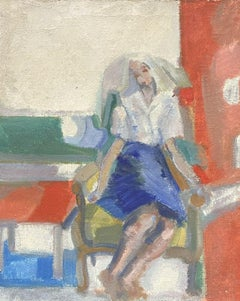 1950'S FRENCH FAUVIST OIL - YOUNG LADY SEATED ON TERRACE CHAIR - BEAUTIFUL COLOR