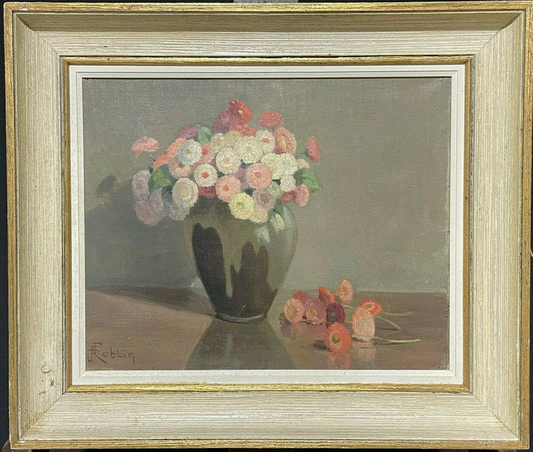 1950's FRENCH FLOWER OIL PAINTING - PASTEL SHADES OF PINKS GREENS & GREY COLORS - Painting by Unknown