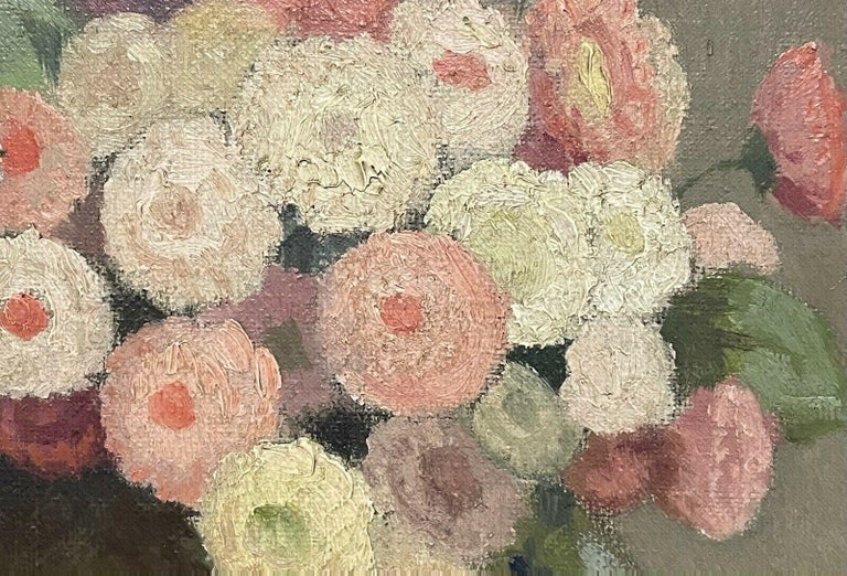 1950's FRENCH FLOWER OIL PAINTING - PASTEL SHADES OF PINKS GREENS & GREY COLORS - Impressionist Painting by Unknown