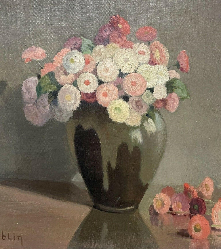 1950's FRENCH FLOWER OIL PAINTING - PASTEL SHADES OF PINKS GREENS & GREY COLORS - Gray Still-Life Painting by Unknown