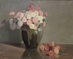 1950's FRENCH FLOWER OIL PAINTING - PASTEL SHADES OF PINKS GREENS & GREY COLORS