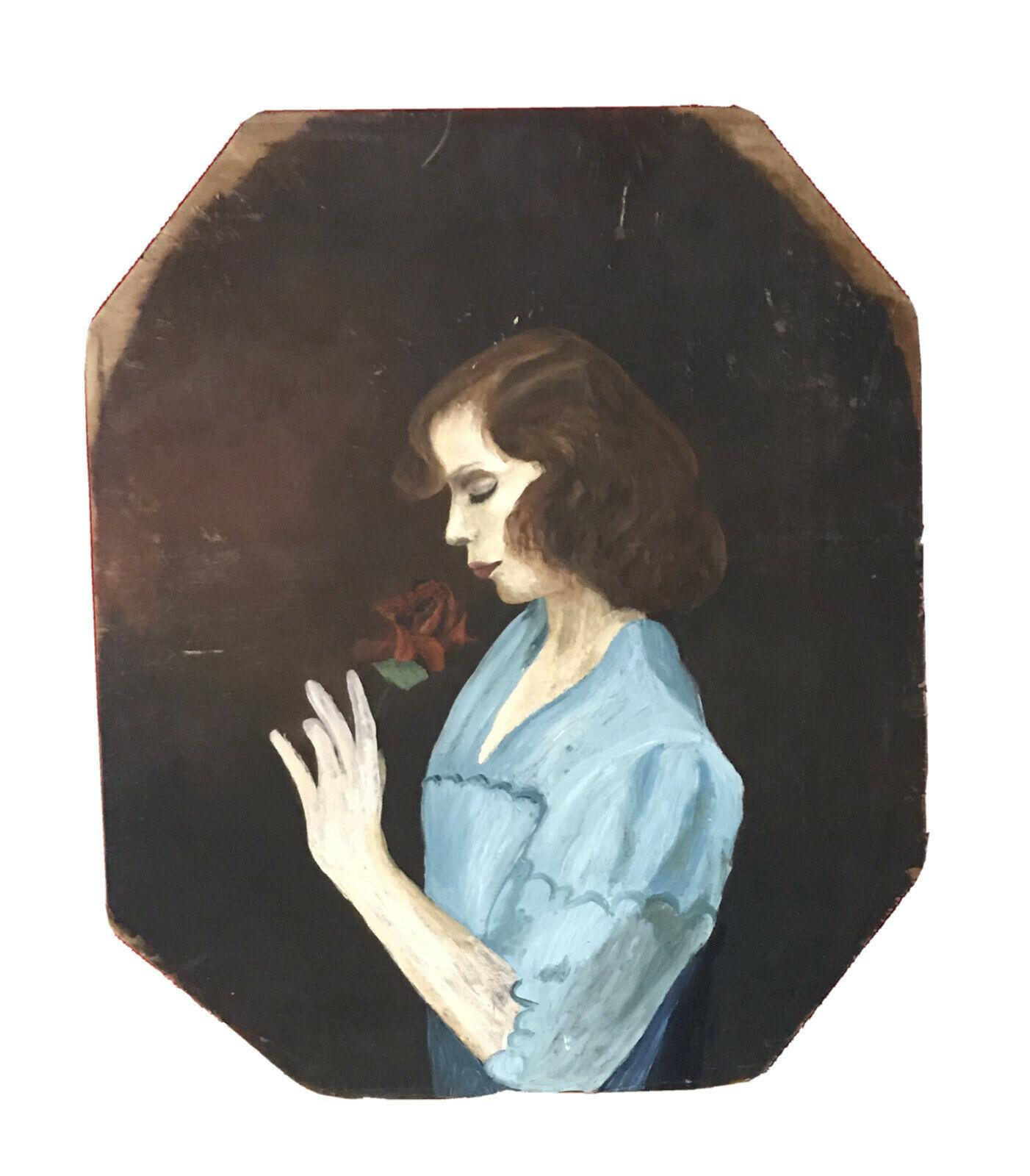 1950's FRENCH PORTRAIT OF YOUNG LADY SMELLING A RED ROSE - OIL ON PANEL