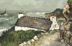 1950'S FRENCH POST-IMPRESSIONIST SIGNED OIL - BRITTANY COTTAGE NEXT TO SEA