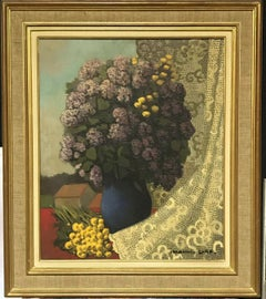 1950'S FRENCH SIGNED FRENCH MODERNIST OIL - LILAC FLOWERS AGAINST LACE LANDSCAPE