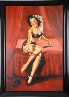 1950's Pin Up Girl Oil Painting on canvas