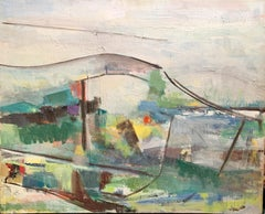 """1950s """"White Hills"""" Abstract Landscape Painting"""