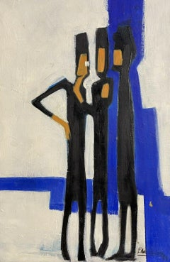 1960's FRENCH ABSTRACT MODERNIST SIGNED OIL PAINTING - FIGURES AGAINST BLUE