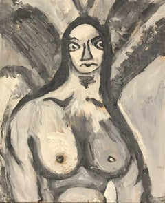 1960's FRENCH MODERNIST ABSTRACT PORTRAIT OF NUDE LADY - BLACK & WHITE