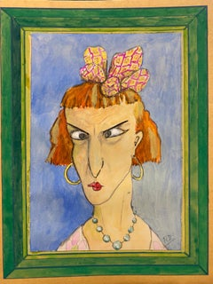 1960's French Portrait Angry Expression Lady Caricature