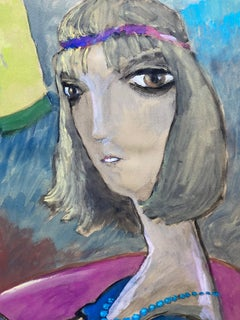 1960's French Portrait Caricature of Flapper Girl