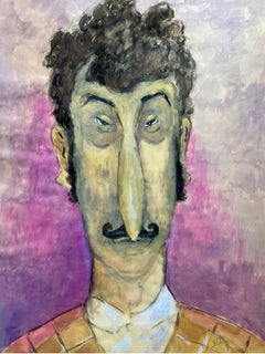 1960's French Portrait Caricature of Man with Moustache