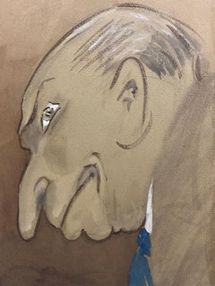 1960's French Portrait Hunched Old Man Caricature