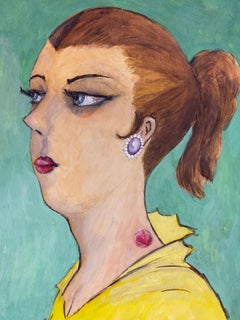 1960's French Portrait Lady Side Profile Caricature