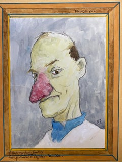 1960's French Portrait Man Very Red Nose Caricature