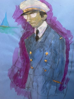1960's French Portrait Pilot/ Captain Gentleman in Uniform Caricature