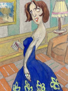 1960's French Portrait Posed Lady In Blue Dress Caricature