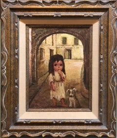 1970s Big Eyed Little Girl with her Puppy Dog Oil Painting