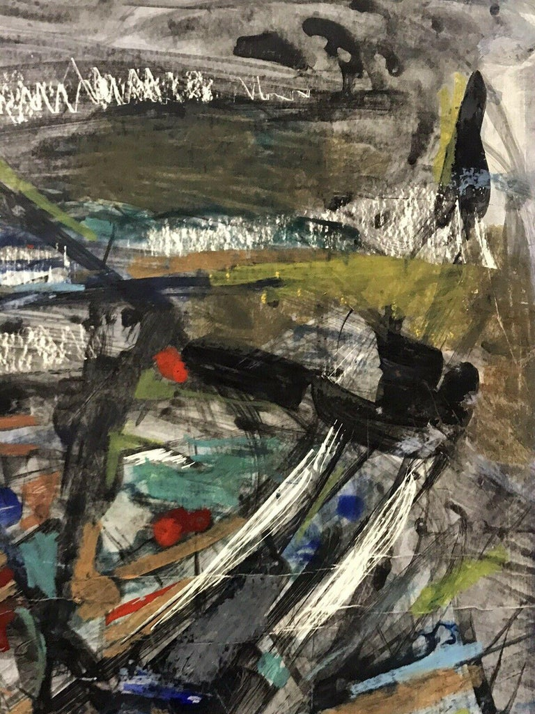 1980's FRENCH ABSTRACT OIL PAINTING - SIGNED & DATED - AMAZING SHAPES AND COLOUR - Abstract Painting by Unknown