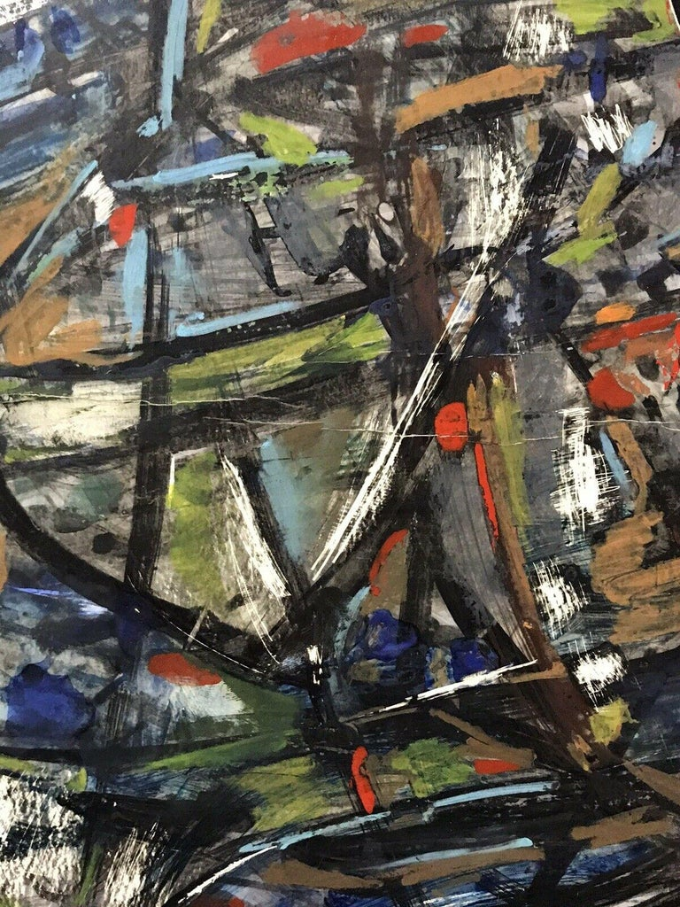 1980's FRENCH ABSTRACT OIL PAINTING - SIGNED & DATED - AMAZING SHAPES AND COLOUR - Black Figurative Painting by Unknown